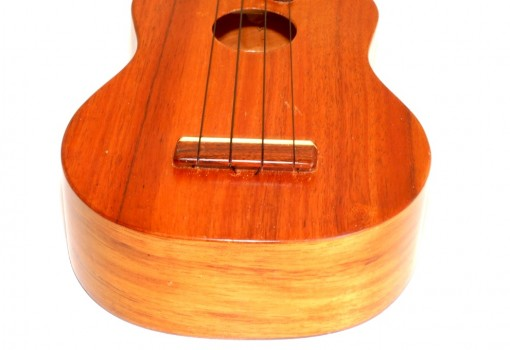 Kamaka Gold Label Solid Koa Soprano Ukulele Bridge, Saddle, Soundhole