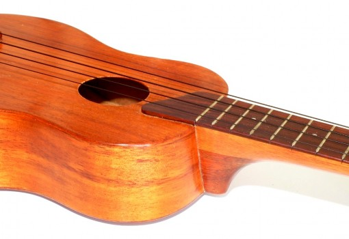 Kamaka Gold Label Solid Koa Soprano Ukulele Side
